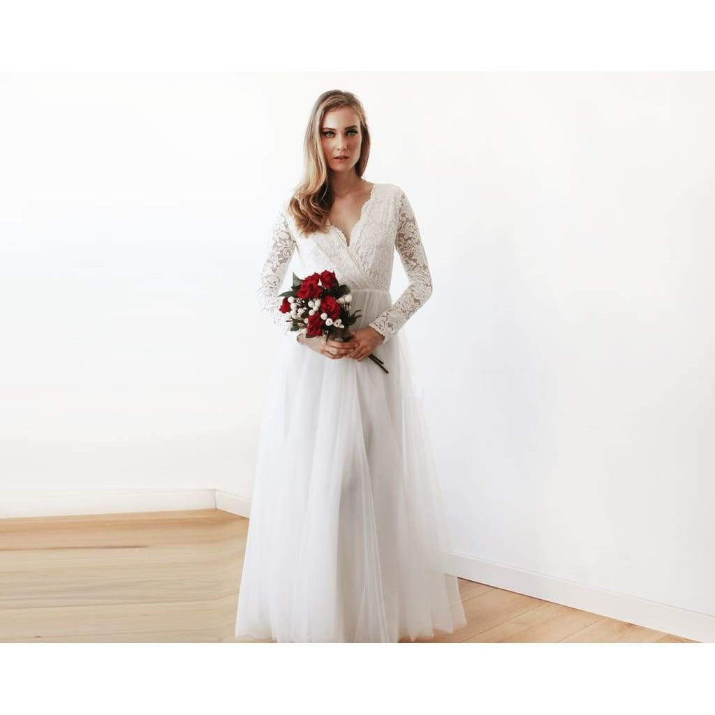 Ivory Tulle and Lace Long Sleeve Wedding Dress