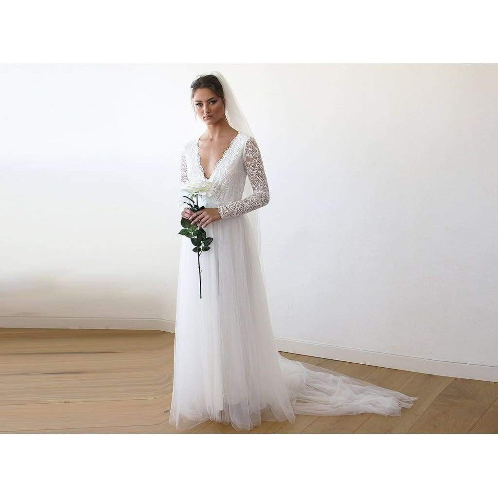 Ivory Tulle and Lace Long Sleeve Wedding Train Gown - Miraposa