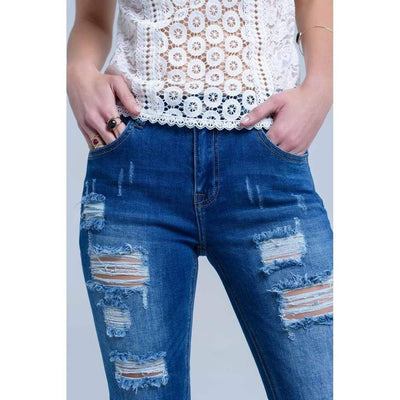 Jeans with Shredded Rips and Raw-Cut Cuffs - Miraposa