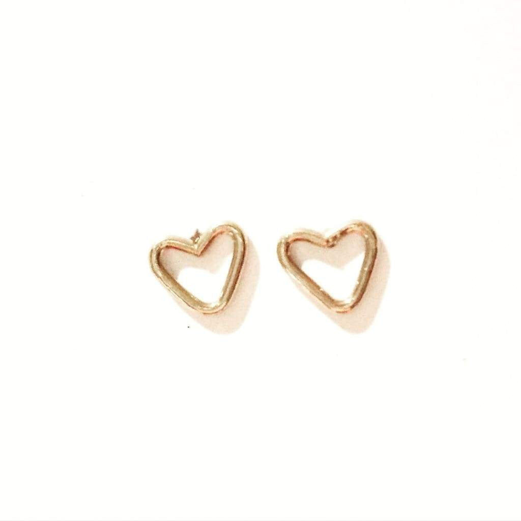 Junibel Sweetheart Studs  - Sterling Silver, 14k Gold Fill, 14k Rose Gold Fill