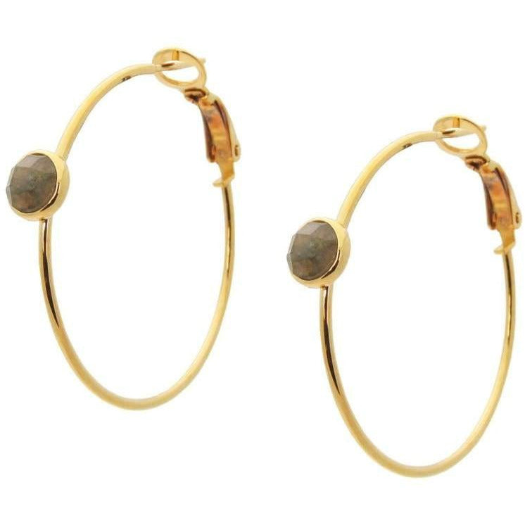 Labradorite Hoop Earrings - Miraposa