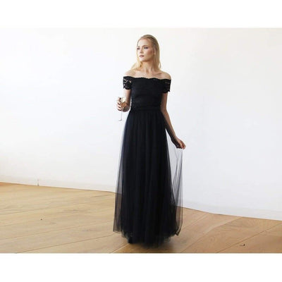 Lace Off-the-Shoulder Tulle Maxi Dress - Miraposa