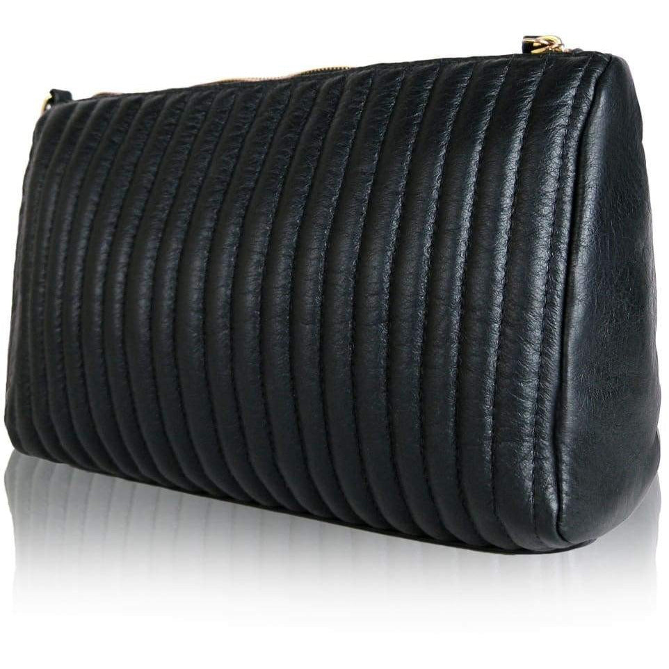 Leistena Handcrafted Quilted Leather Clutch