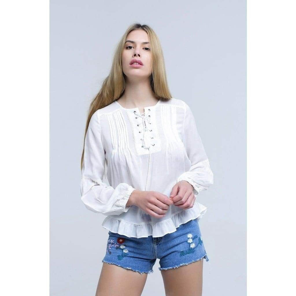 Lily White Lace Up Top with Ruffle