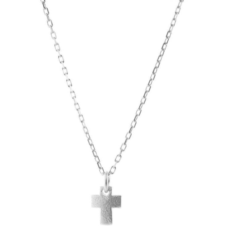 Mini Cross Necklace Satin Finish Sterling Silver - Miraposa
