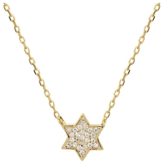 Mini Sparkling Gold Star of David Necklace - Miraposa