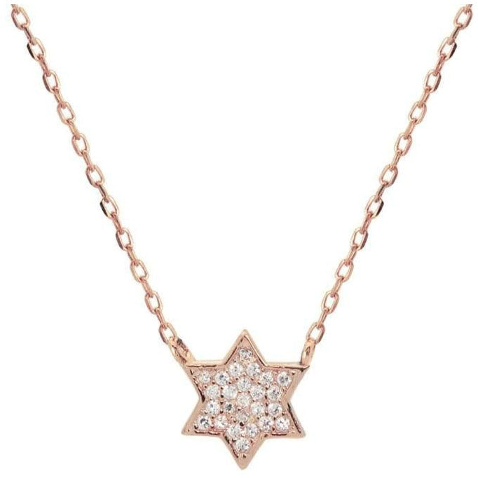 Mini Sparkling Pink Star of David Necklace - Miraposa