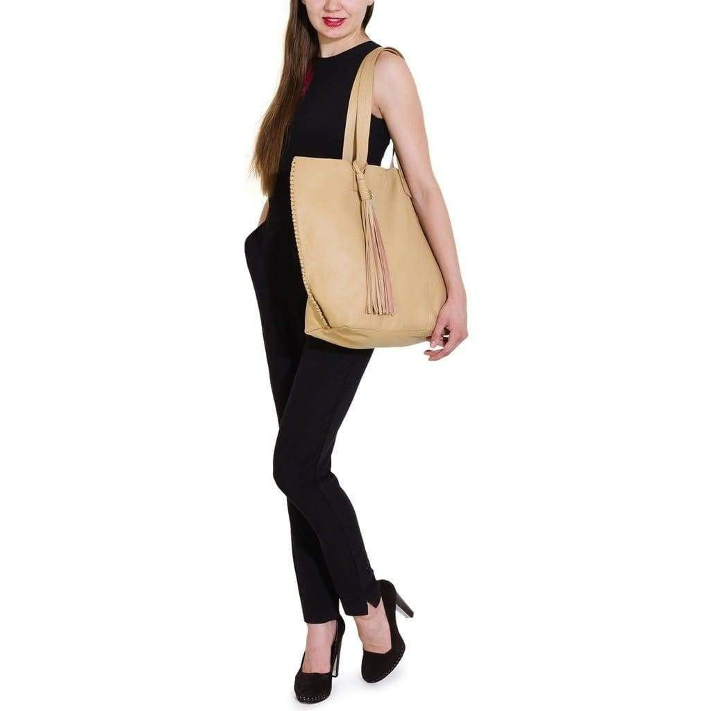 Natural Leather Tote - Genuine Leather - Miraposa