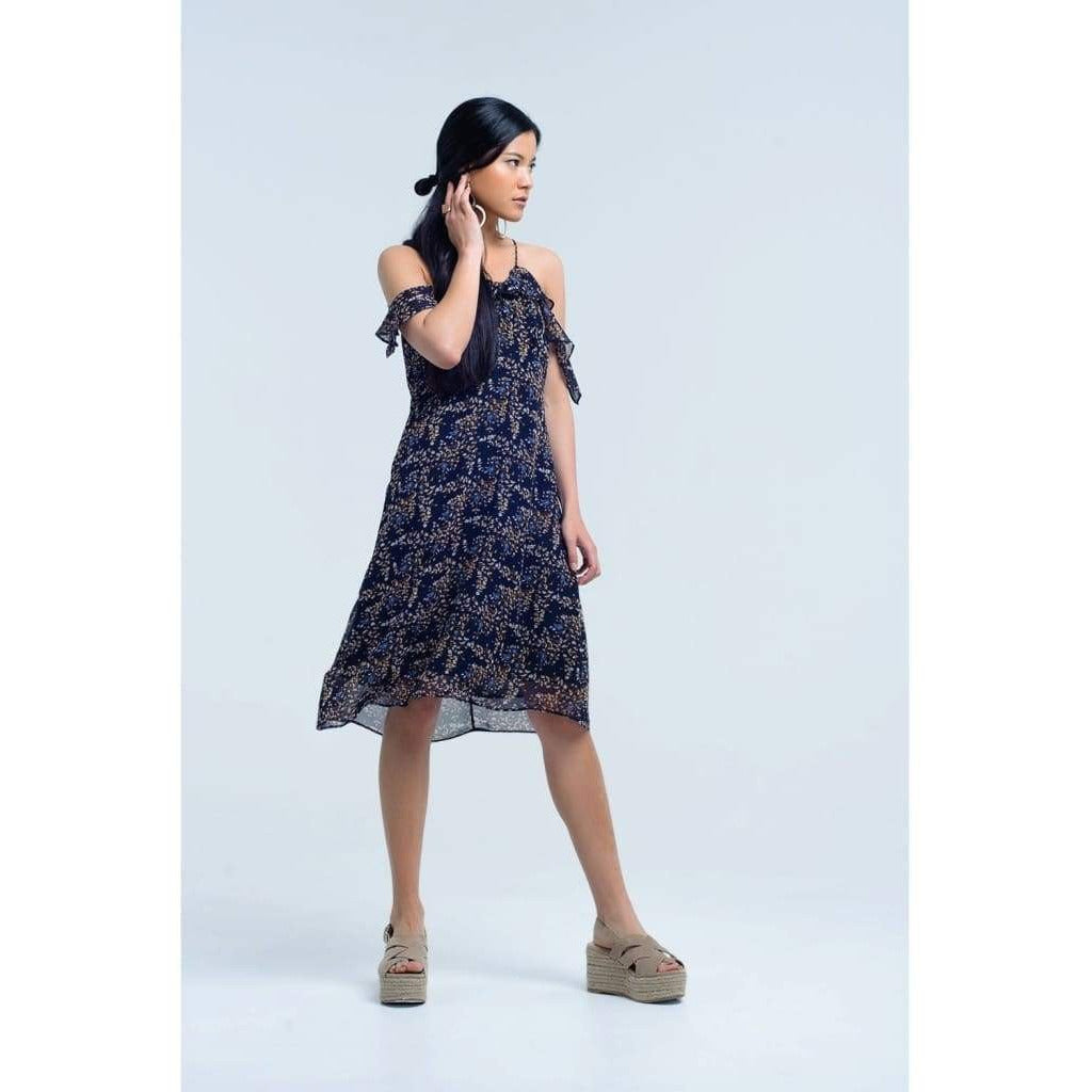 Navy Blue Dress with Printed Flowers and Ruffles - Miraposa