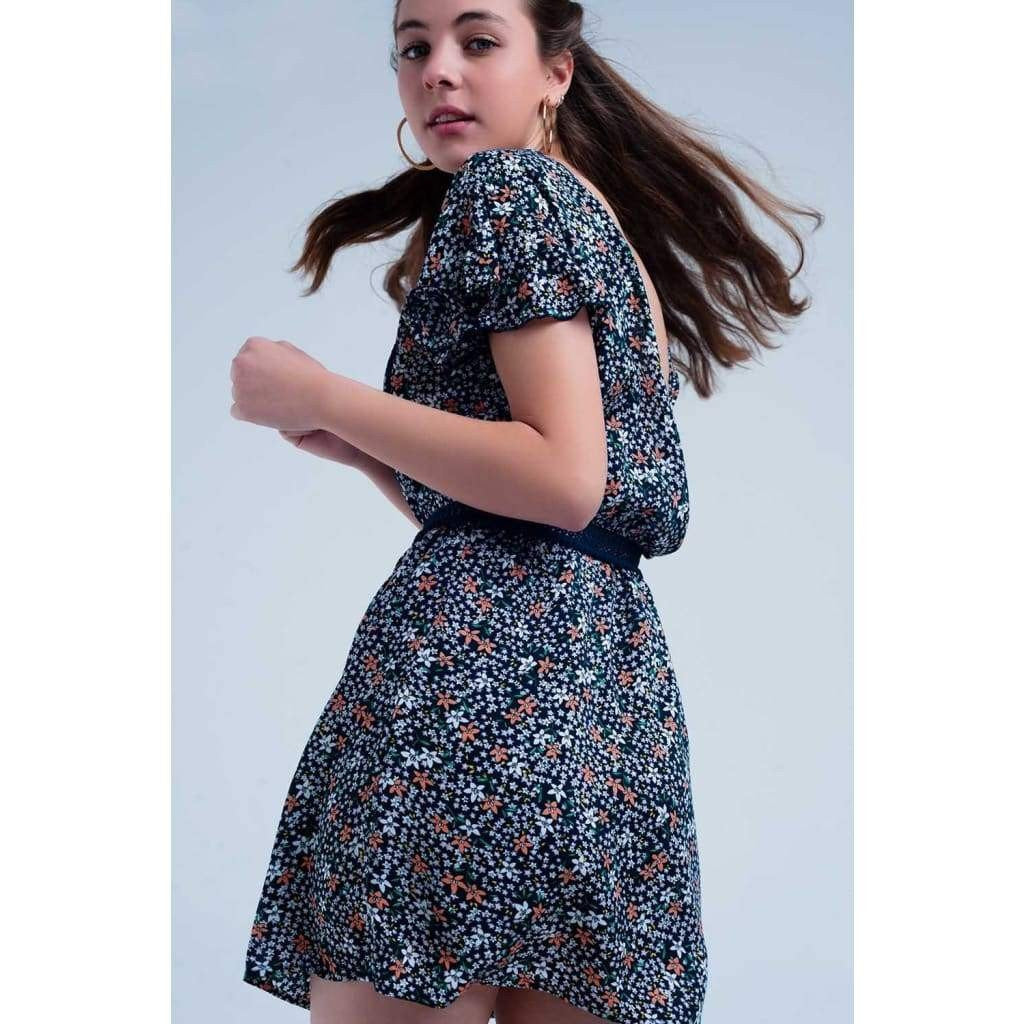 Navy Dress with Flower Print - Viscose - Miraposa