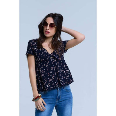 Navy Floral Bow Top - Miraposa