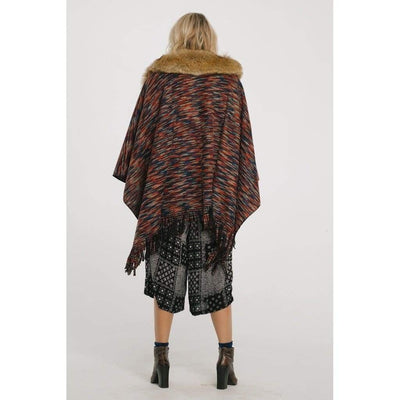 On The Hunt Poncho with Faux Fur Collar - Miraposa