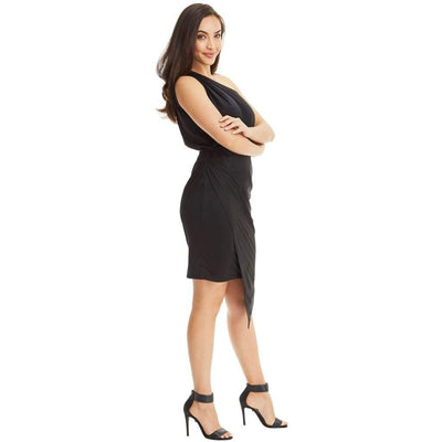 One Shoulder Asymmetrical Stretch Dress - Black - Miraposa