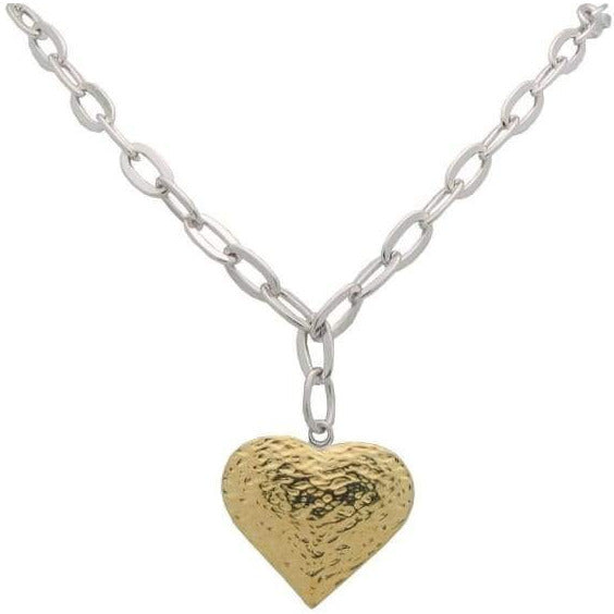 Oval Hammered Link & Golden Heart Necklace - Miraposa