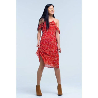 Red Dress with Printed Flowers and Ruffles - Miraposa