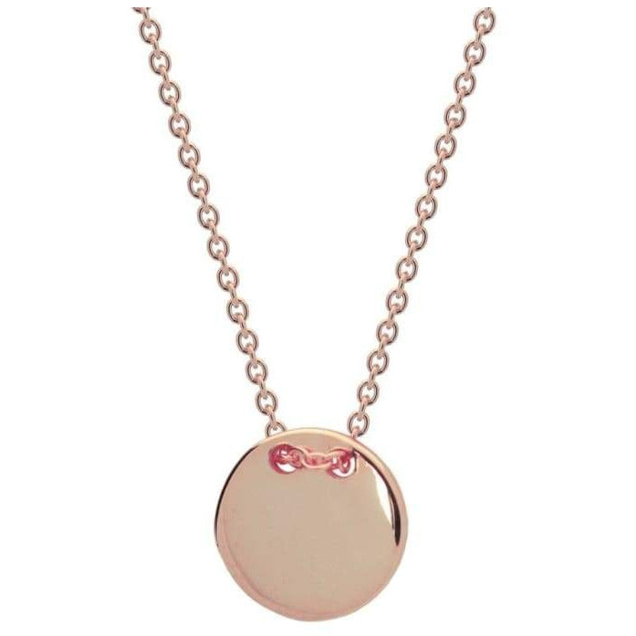 Rose Gold Plated Engravable Initials Disc Necklace - Miraposa