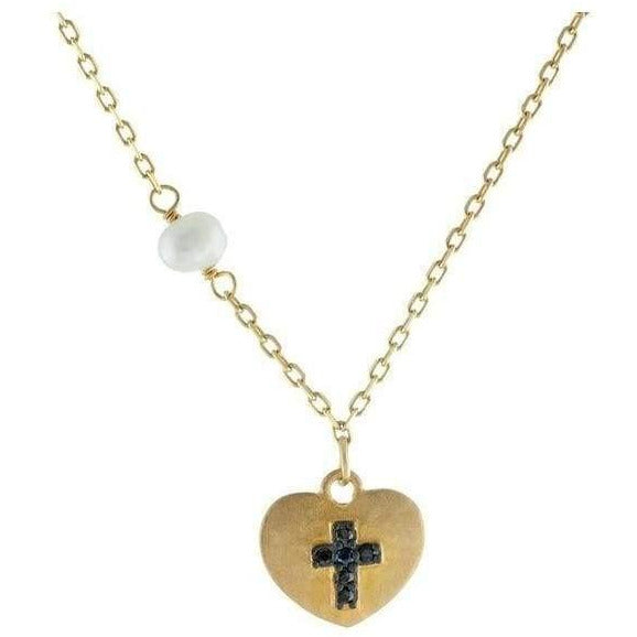 Satin Heart w/ Engraved Black Cross Necklace - 14k Gold Plated Silver
