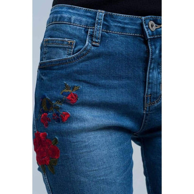 Skinny Jean Embroidered Detail - Miraposa