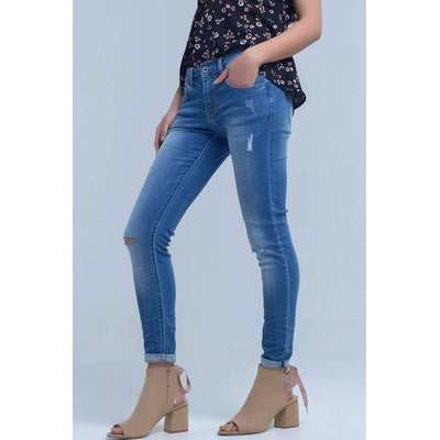 Skinny Jeans with Rip Knee - Miraposa