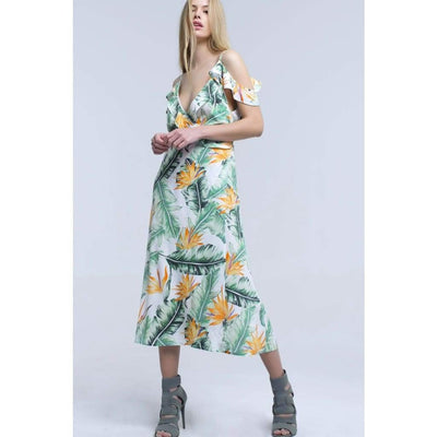 Off the Shoulder Tropical Print Dress - Miraposa