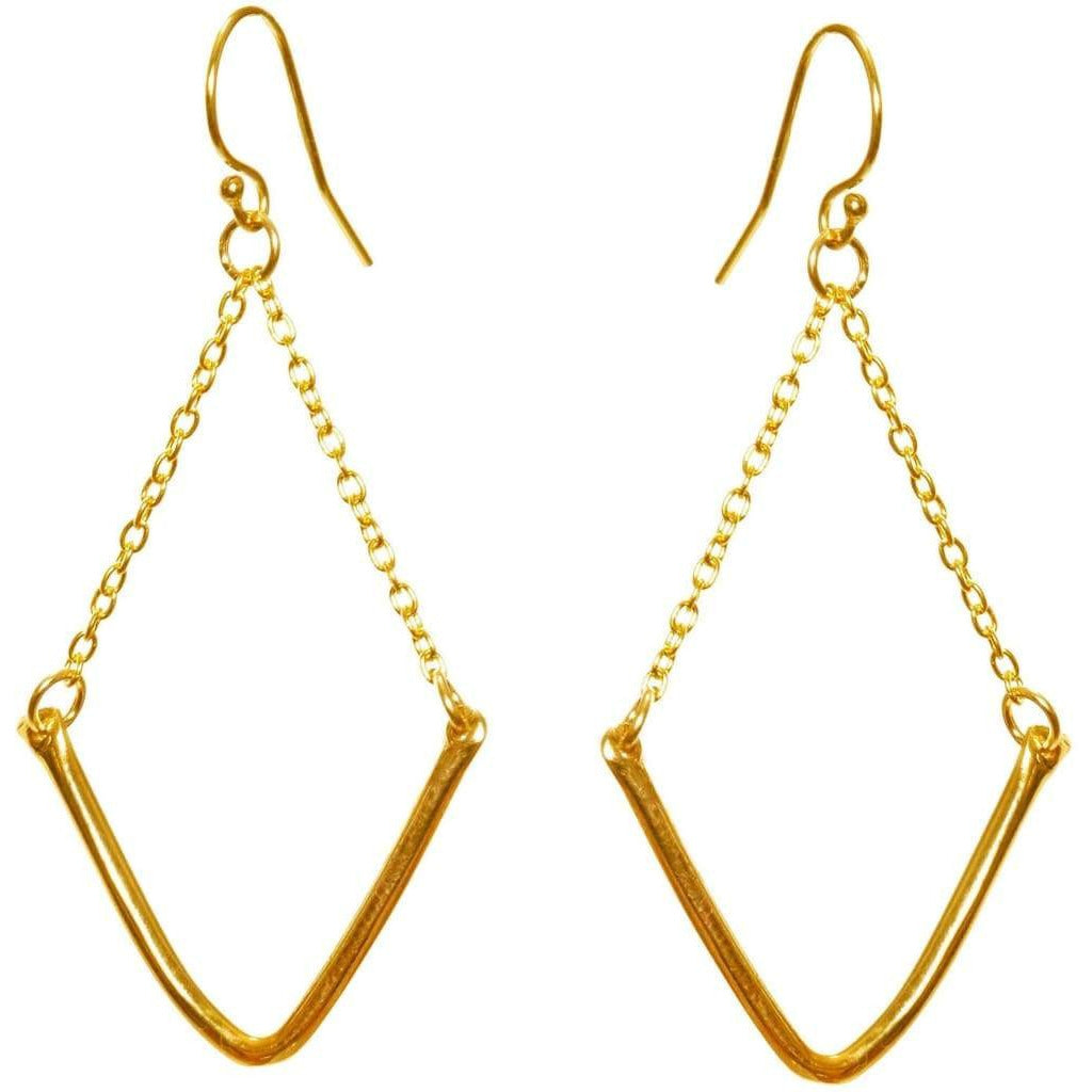 V-Shaped Earrings - Gold Plated - Miraposa