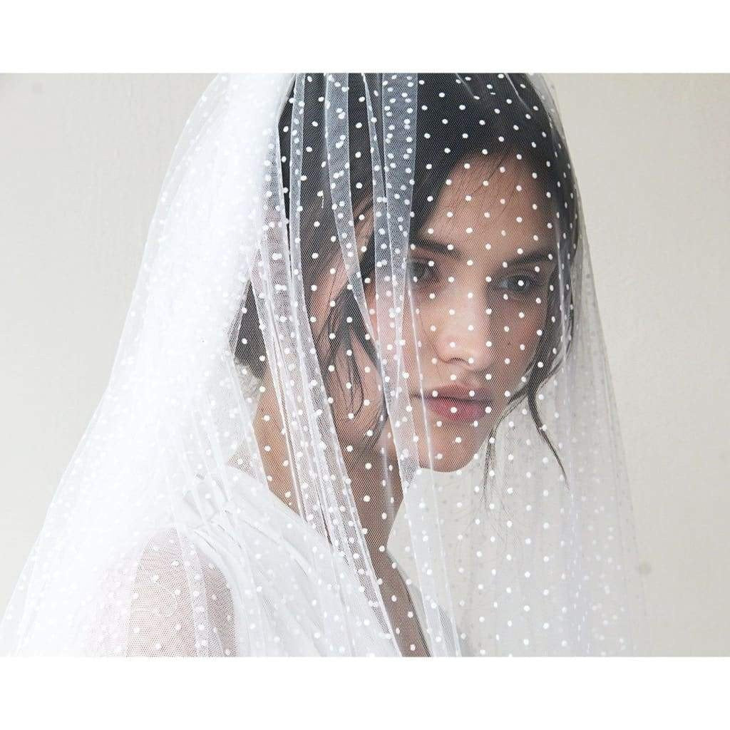 Wedding Tulle Veil, Fingertip Length with Dots - Miraposa