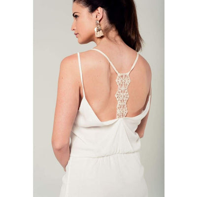 White Mini Dress with Back Crochet Detail - Miraposa