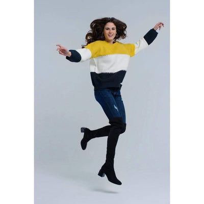 Yellow Knitted Sweater with Pearls - Miraposa