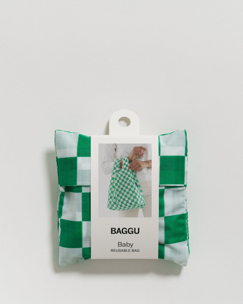 Baby Baggu in Green Checkerboard