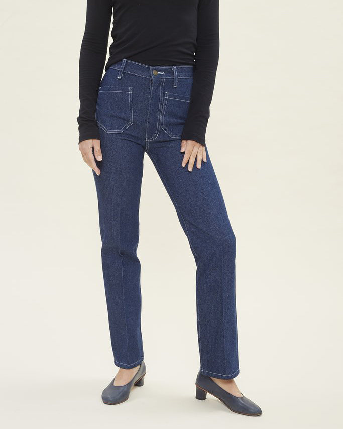 Lykke Wullf Perfected Ranch Pant in Cowboy Denim
