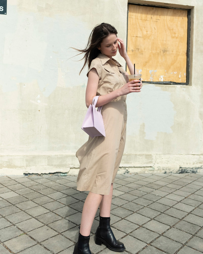 Vintage Shirt Dress in Tan