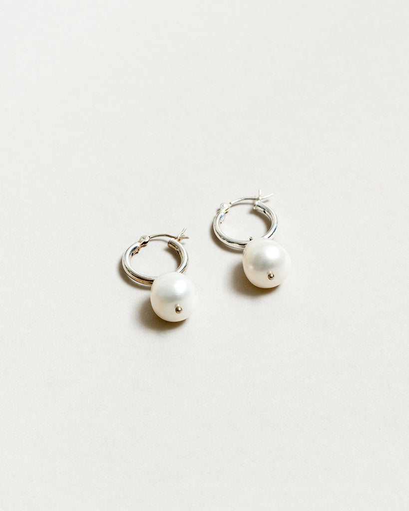Wolf Circus Small Pearl Hoops in Sterling Silver