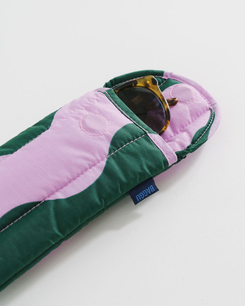 Baggu Puffy Glasses Sleeve in Pink and Green Wavy Stripe