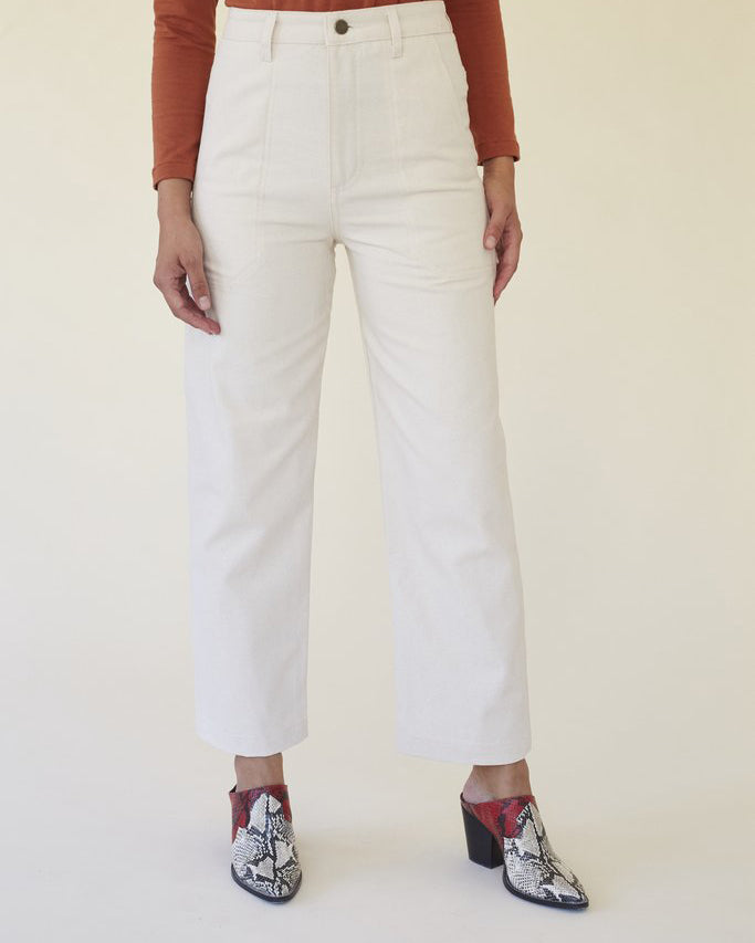 Lykke Wullf Montana Painter Pant in Cream Canvas