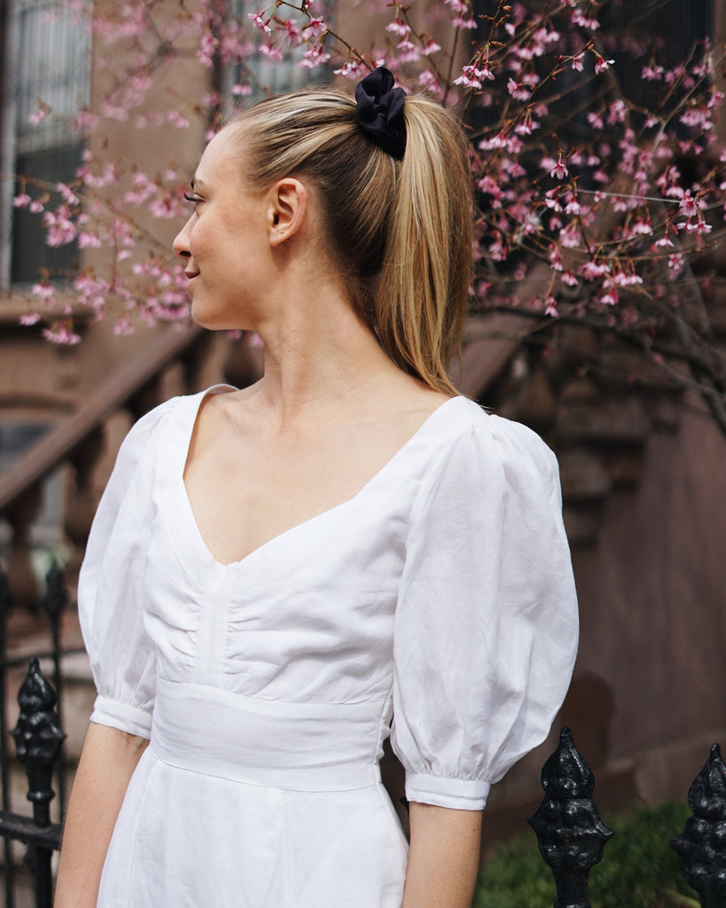 Hannah Kristina Metz Elton Dress in White Linen