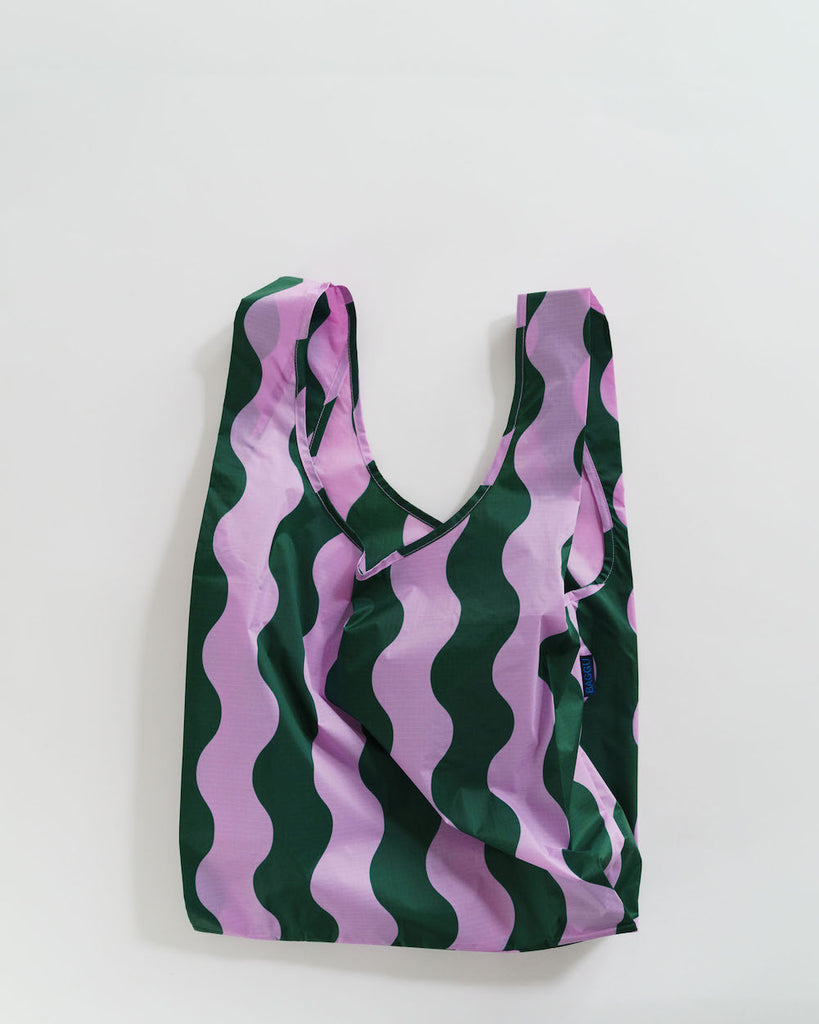 Standard Baggu in Pink and Green Wavy Stripe