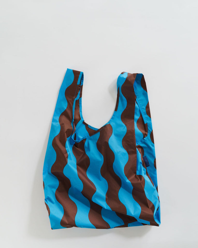 Standard Baggu in Teal and Brown Wavy Stripe