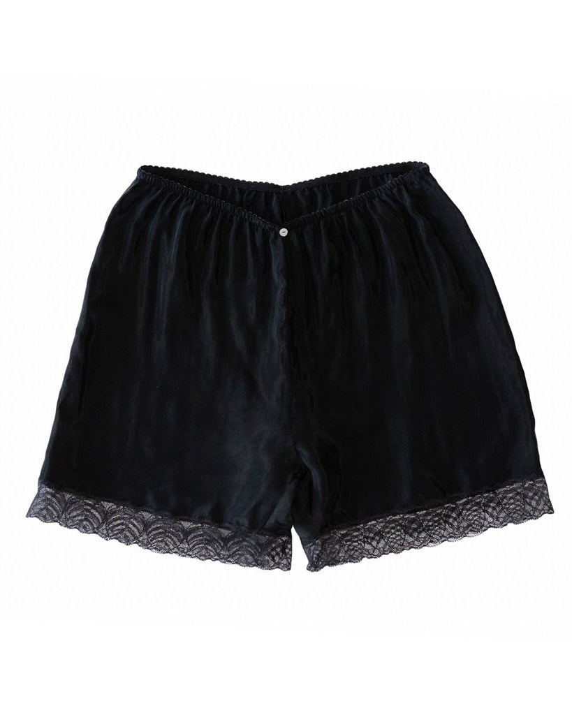 Botanica Workshop Billie Midi Shorts in Black - Cupro Vegan Silk