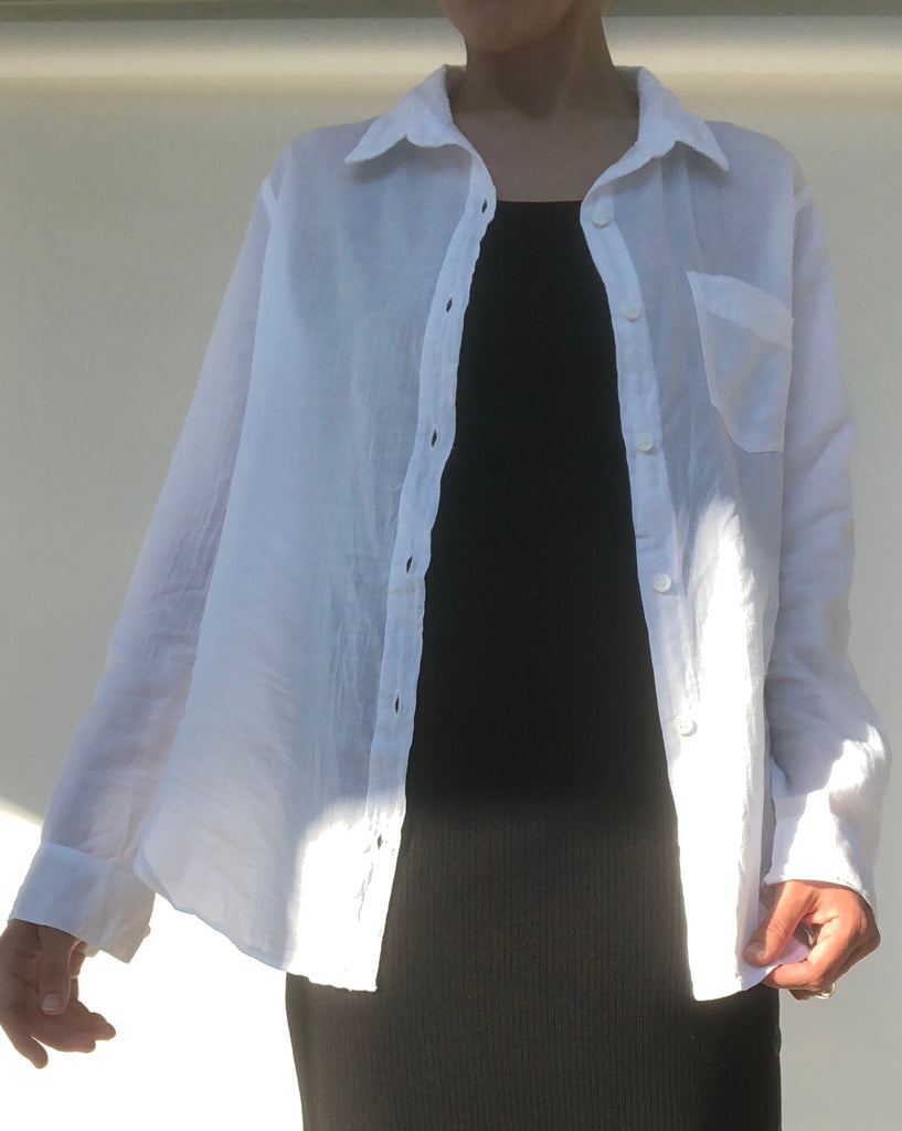 LACAUSA Super Fine Nash Button Up in White