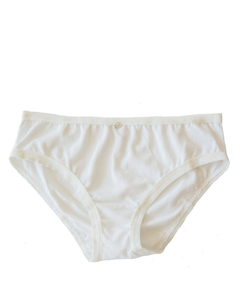 Botanica Workshop Lila Bikini Brief in White - Organic Cotton