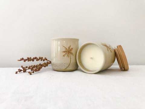 """Palm"" Ceramic Canister Candle"