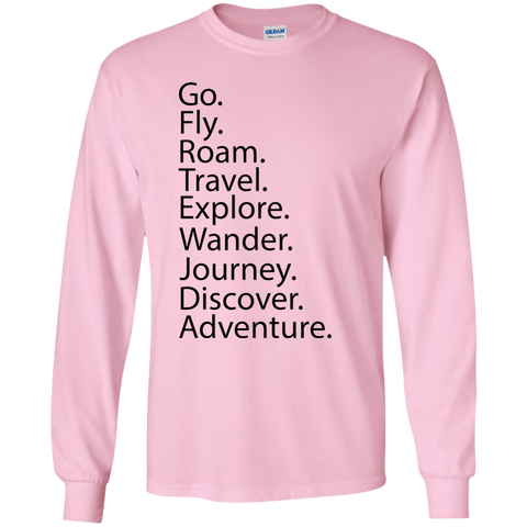 Go. Fly. Roam. Long Sleeve T-Shirt - Pen & Passport