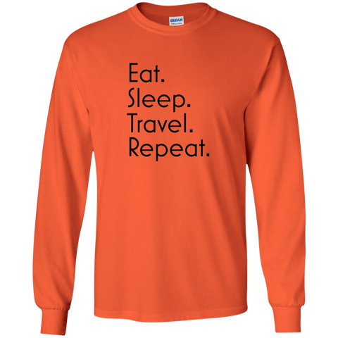 Eat Sleep Travel Repeat Long Sleeve T-Shirt - Pen & Passport
