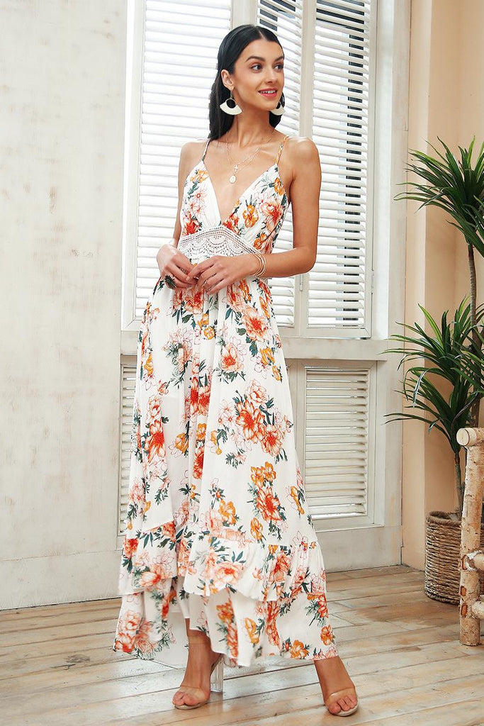 Women's Floral Print Backless Maxi Dress