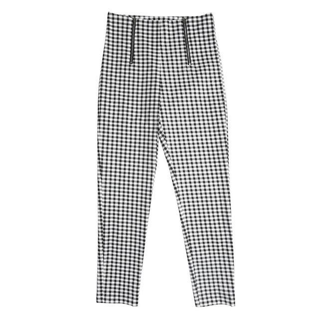 Gray White Plaid Women Side Stripe Trousers Casual Cotton Comfortable Elastic Pants - phelp.royal