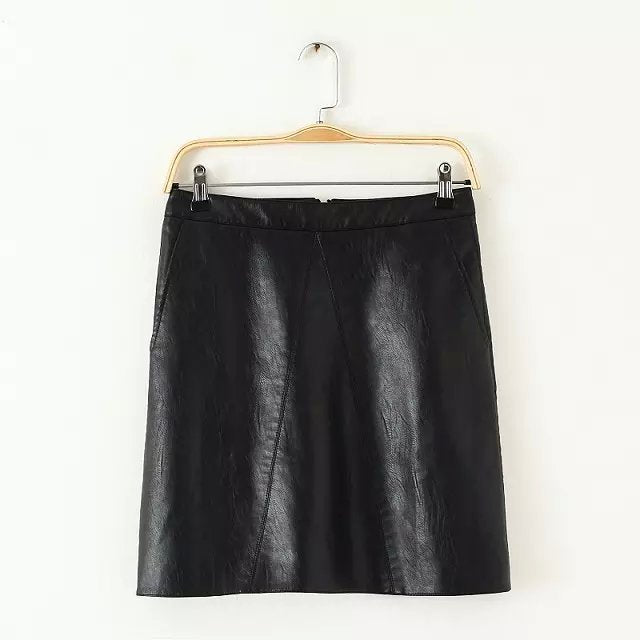 Bella Philosophy spring new PU faux leather skirt women high waist skirt - phelp.royal