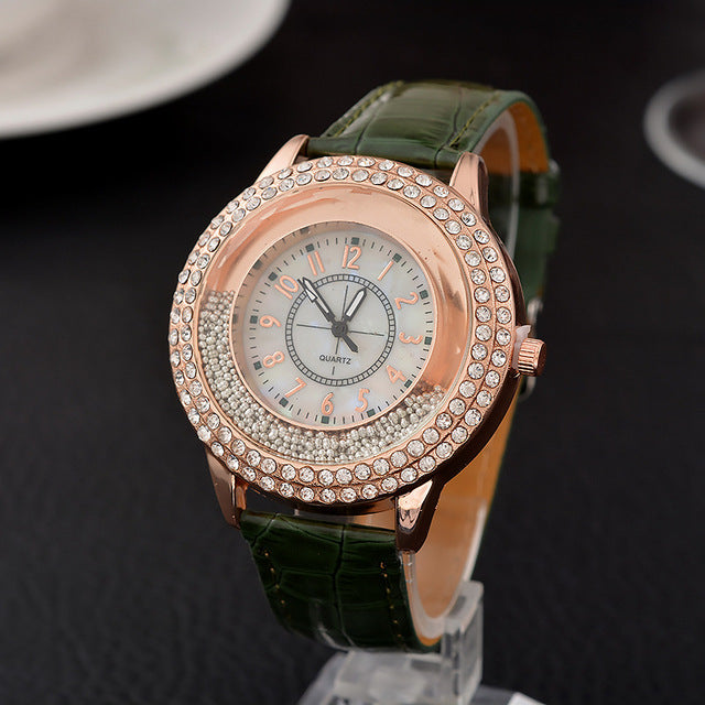 Women's Shiny Crystal Leather Strap Watch