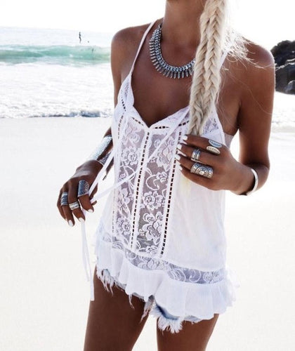 White Lace Summer Tank Top