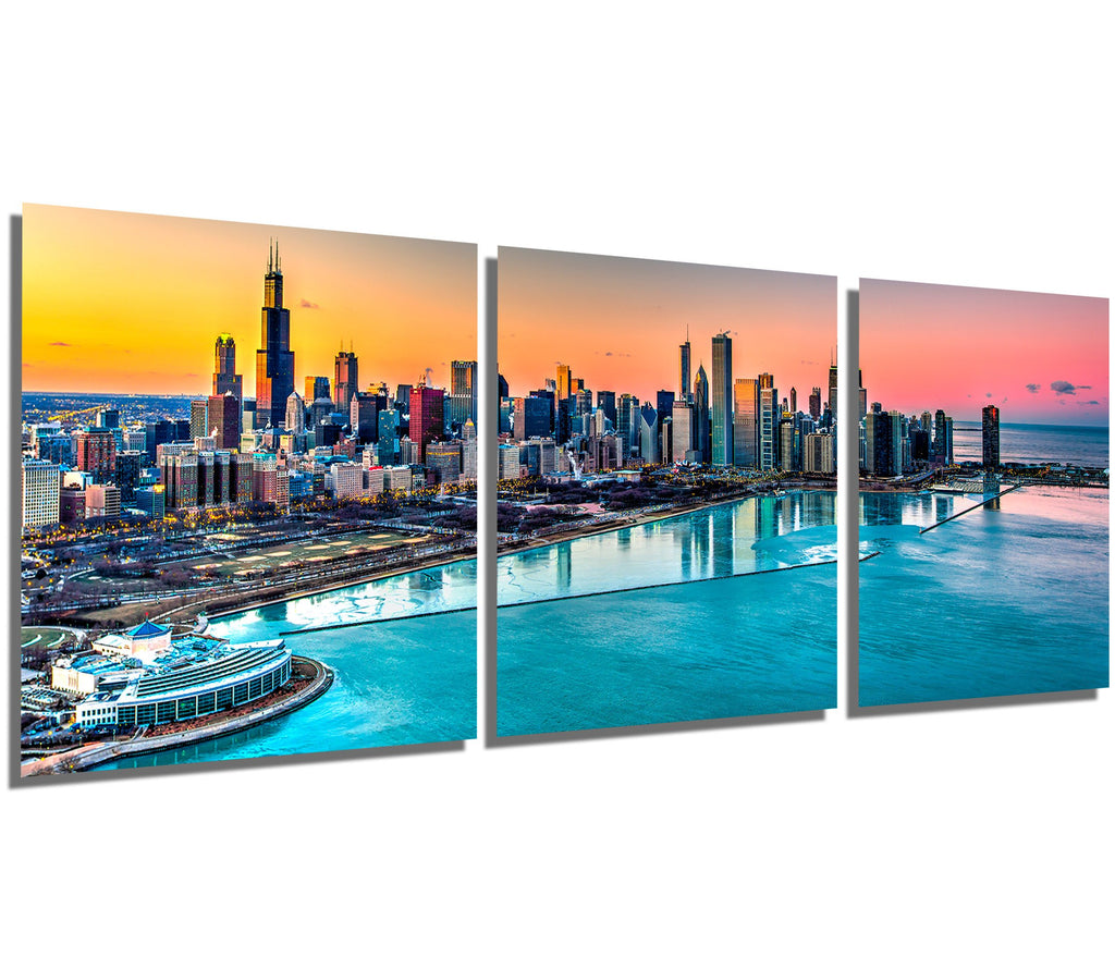 Chicago Skyline Sunset - 3 Piece Set