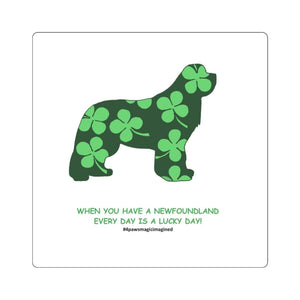 Print on Demand - Lucky Newfie Square Stickers